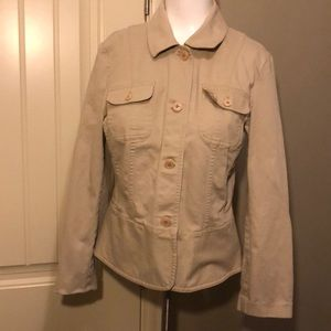 Talbots button up jacket has stretch size 10